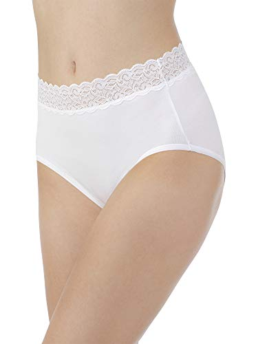 Vanity Fair Women's Flattering Lace Cotton Stretch Brief Panty 13396, Star White, 2X-Large/9