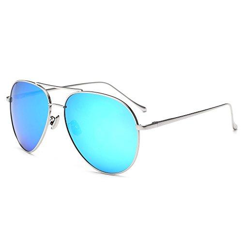 SUNGAIT Women's Lightweight Oversized Aviator sunglasses - Mirrored Polarized Lens Sliver Frame/Blue Mirror Lens, - Girls Aviator Sunglasses