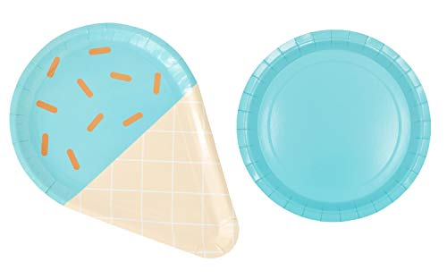 - Zealax Ice Cream Party Disposable Plates 16ct - Ice Cream Cone and Round Paper Plates Set Party Supplies for Appetizer, Lunch, Dinner and Dessert, Blue