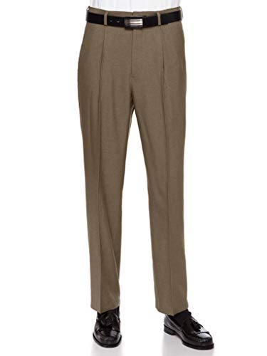 RGM Mens Dress Pants, Formal and Work Slacks for Men - Pleated Front Cuffed Hem Loden 40 Short