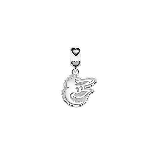 (Mia Diamonds 925 Sterling Silver Rh-plated LogoArt Baltimore Orioles Bird Head Heart Bead Charm for Charm Bracelet)