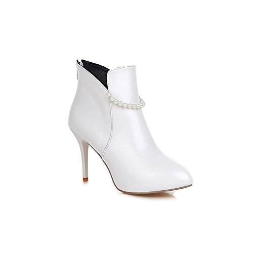 Heel Pointed for Booties Women's Imitation Bootie ZHZNVX White Wedding Pearl Boots HSXZ Leatherette Shoes Ankle Comfort Spring Boots Stiletto Toe Winter qxxPCvUw1