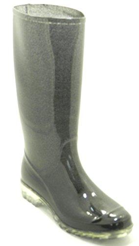 Dames Dev-14 Plassen Regen & Sneeuw Half Kalf Platte Waterdichte Laarzen Schoenen Zwart / Glitter