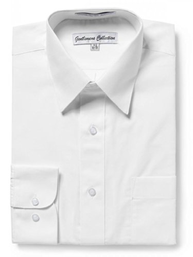 Gentlemens Collection Men's Regular Fit Long Sleeve Solid Dress Shirt,White,18.5 inches Neck 34/35 inches Sleeve ()