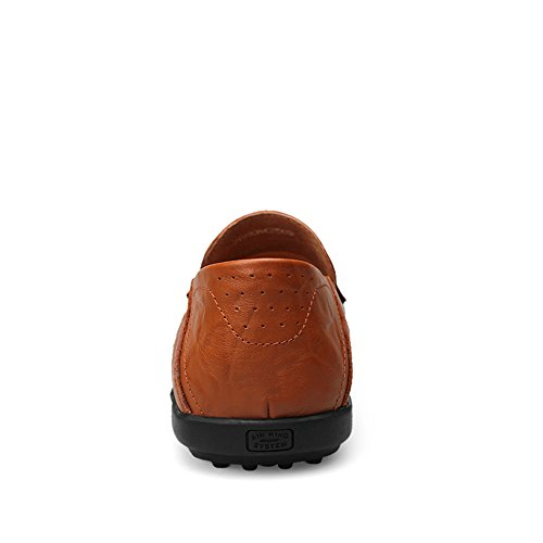 Dimensione Moda 45 di Loafer Slip Hollow EU Casual Brown Slipper da Vamp alla Morbidi Design Driving On Uomo Mocassini Color Red HUwXqE