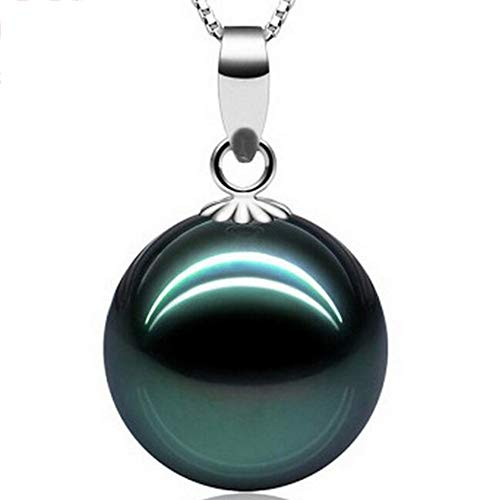 (Fashion Jewelry@ Tahitian Black Pearl Necklace & Saltwater Pearl Quality Round 18K White Gold Buckle Pendant 10-11mm, A 18 Inches 925 Sterling Silver Chain is Included for Free)