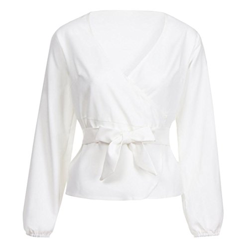 Travail Col Clubwear Manches Guesspower V Fit Loose Slim Shirt Blouse Chic Bow Chemise Tops Blanc Sexy Chemise T Neck V T Shirts Longues Femme Femme Occasionnels Top wwx0CPzRq