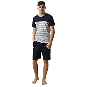 LEMONMOON Men's Cotton Classic Striped Top with Lounge Shorts Pajama 2 Piece Set