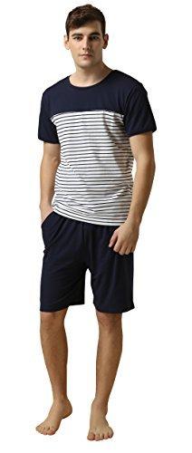 Suntasty Men's Summer Sleepwear Lounge Set Stripe Short Sleeve Pajamas Top with Solid Shorts Blue ()
