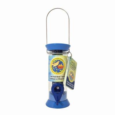 (Droll Yankees Bird Feeder, Hanging Tube Songbird Feeder, Just Feed Birds JFB-S8B, 8 Inch, 2 Ports, Blue)
