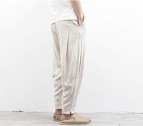 Cómodos 2018 Pantalones Playa Reis Basicas Los Verano Airoso Largos Algodón Livianos Ajuste Lino Holgado Casuales De Hombres White Tela raTqgwRrp