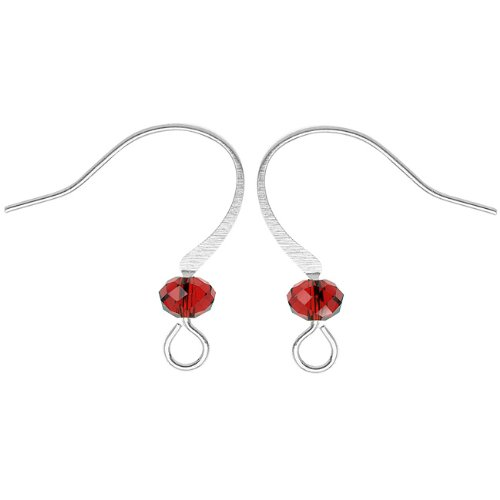 Earrings Glass Ruby (Beadaholique Silver Plated Earring Hooks With Crystal - Ruby Red Glass Crystal (10))