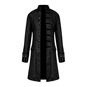 MasaRave Mens Gothic Jacket Steampunk Victorian Jacquard Coat