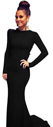 Neue Damen Schwarz offener Rücken lange Ärmel Cocktail Abend Kleid lange Kleid Cruise Ball Cocktail tragen Kleid Größe M UK 10–12EU 40