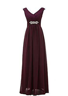 Grace Lee Womens V Neck Chiffon Long Prom Gowns Homecoming Dresses