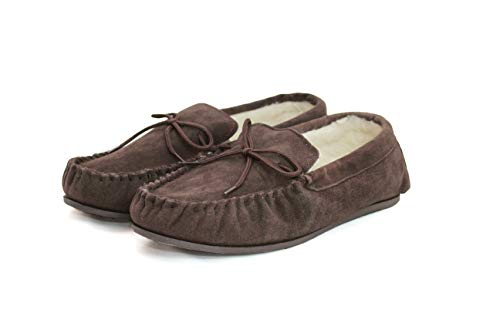 with Brown Sole Pantofole Wool Rubber Moccasin Lined Uomo SNUGRUGS Suede zxSwIpUq4