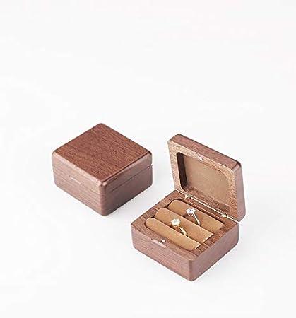 Caja de anillo personalizable rústica y chic para anillos de boda, soporte para anillos de almohada, caja de recuerdos: Amazon.es: Jardín