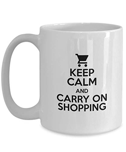 Keep Calm and Carry On Shopping Mug Funny Coffee Tea Cup Novelty Gifts Idea