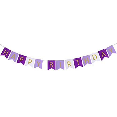 ROSENICE Bunting Banner Purple Happy Birthday Banner with Shiny Gold Letters Party Supplies in Purple -