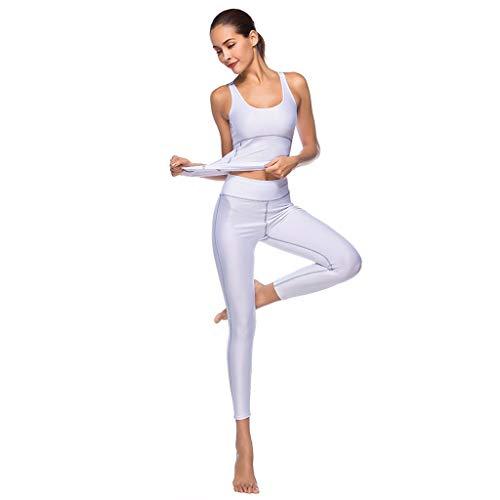 MTENG Women's Vest Tights Sports Tops Running Yoga Fitness Sleeveless T-Shirt + Running Sports Fitness Gym Pants Workout -