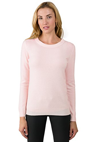 JENNIE LIU Women's 100% Pure Cashmere Long Sleeve Crew Neck Sweater (S, Petal Pink)