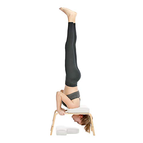 (Restrial Life Yoga Headstand Bench- Stand Yoga Chair for Family, Gym - Wood and PU Pads - Relieve Fatigue and Build Up Body (White))