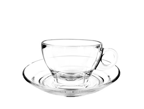 Caffe Latte Mug - Cuisivin Caffé Collection 8703 Latte 9 oz Cup and Saucer-gift box set (2 cups + 2 saucers) Drinkware Cups With Saucers, Clear