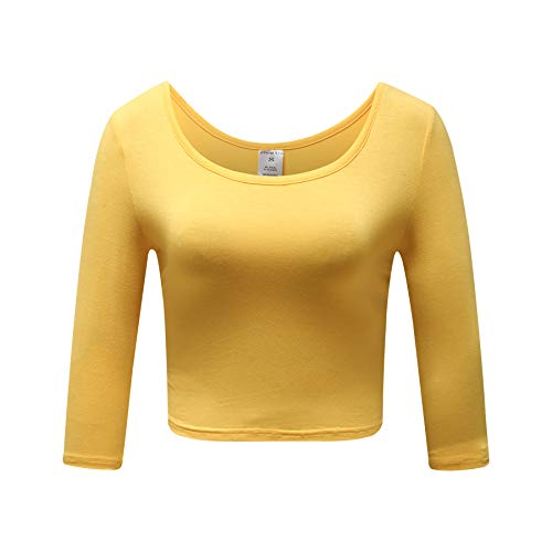 (OThread & Co. Women's Crop Tops Basic Stretchy Scoop Neck 3/4 Sleeve T-Shirt (Small, Yellow))