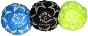 Dirtbag Footbag Hacky Sack Stellar Staller 3 Pack - Blue/Black/Fluorescent Yellow by Dirtbag