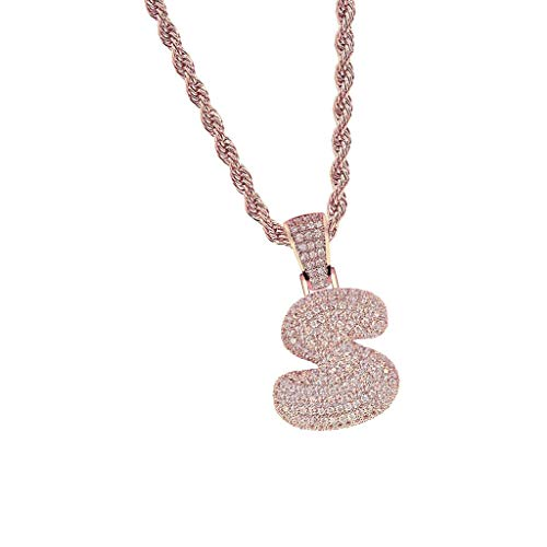 (Bubble Letter S Diamond Iced Out Pendant 2x3.1cm with 60cm Rope Chain Hiphop Necklace Jewelry Crafting Key Chain Bracelet Pendants Accessories Best| Color - Rose Gold)