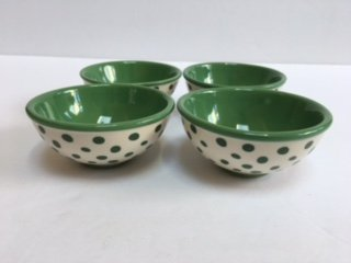 - Pionner Woman Retro Dot Green Dipping Bowls 4 Pack Ceramic Floral 3.125 Inch