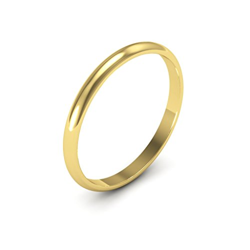 14K yellow Gold men's and women's plain wedding bands 2mm non comfort-fit light, 8.5