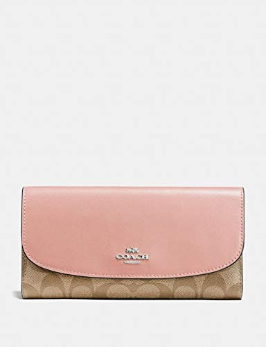 Coach F57319 Signature PVC Checkbook Wallet Khaki ()