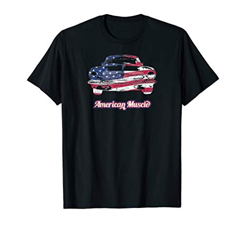 (Bold classic Patriotic American Muscle car t-shirt for men)