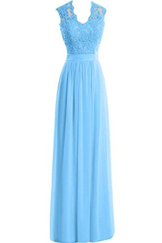 Applikation Ausschnitt Damen Chiffon Aemellos Neu Blau Lang Partykleid Elegant U Missdressy Abendkleid Spitze Rnq8YwHZ8x