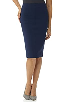 Rekucci Women's Ease in to Comfort Pull-On Knit High Waist Midi Pencil Skirt