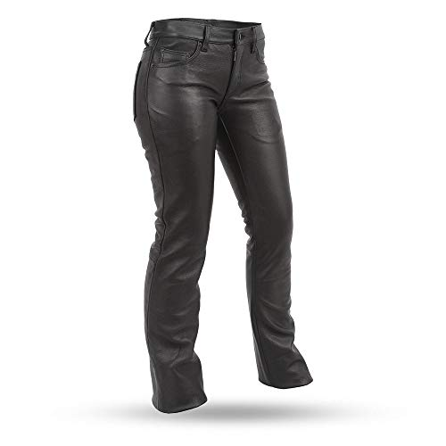 (First Manufacturing Alexis Women's Leather Motorcycle Pants (Black, Size)