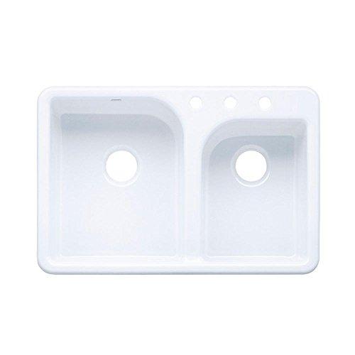 KOHLER K-5948-3-0 Efficiency Self-Rimming Kitchen Sink, (Cast Iron Sink)