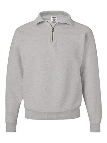 Jerzees Cotton Pullover - Jerzees mens 9.5 oz. 50/50 Super Sweats NuBlend Fleece Quarter-Zip Pullover(4528)-OXFORD-2XL