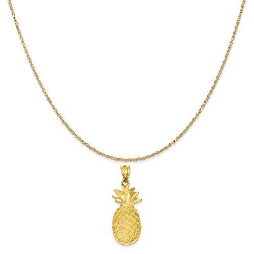 14k Gold Food Charm - Mireval 14k Yellow Gold Pineapple Charm on a 14K Yellow Gold Rope Chain Necklace, 20