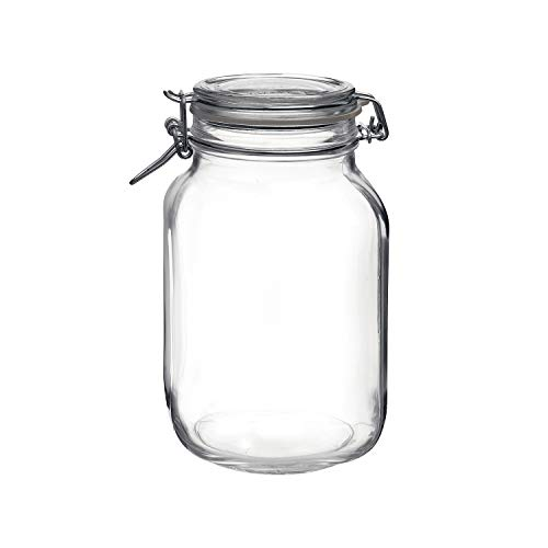 Bormioli Rocco Clear Fido 67.75 oz. Glass Storage Jar: Airtight Lid With Leak Proof Gasket, Wide Mouth Kitchen Food Container - For Zero Waste Air Tight Preserving Jam, Spices, Coffee, Sugar & Herbs