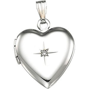 Sterling Silver Diamond Heart Locket, (.01 Ct, GH Color, I1 Clarity) by The Men's Jewelry Store (for HER)