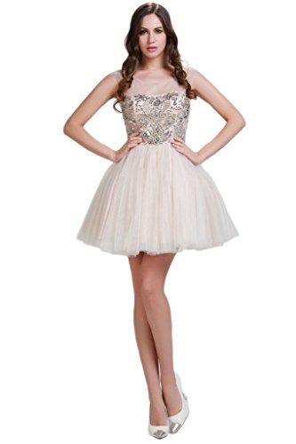 HarveyBridal Crystal Ball Gown Short Homecoming Dresses Champagne