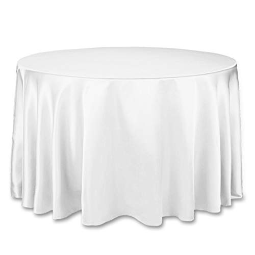 LinenTablecloth 108-Inch Round Satin Tablecloth White