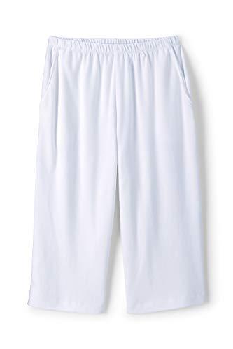 (Lands' End Women's Plus Size Sport Knit Elastic Waist Pull On Capri Pants White)