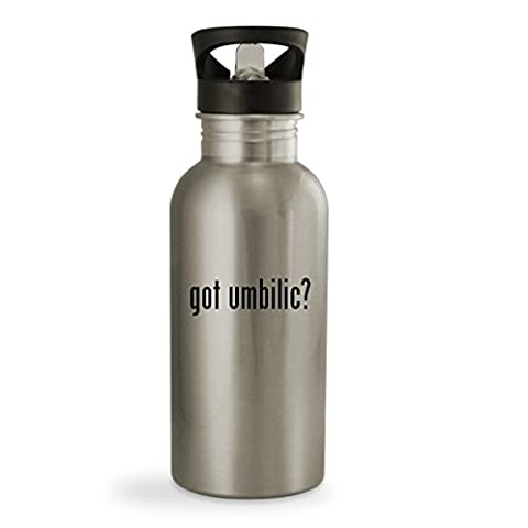 got umbilic? - 20oz Sturdy Stainless Steel Water Bottle, Silver (Umbilical Bands Or Straps)