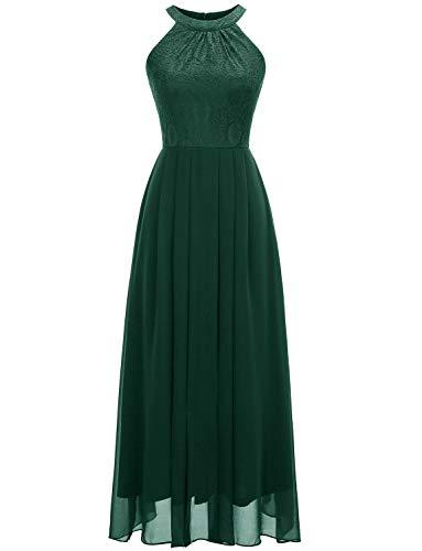 Dressystar 0040 Halter Bridesmaid Dress Prom Dress Formal Wedding Party Gown L Green ()