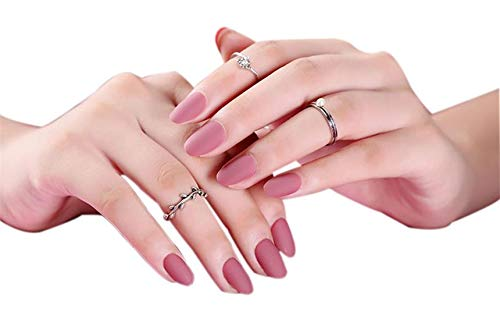 JINDIN 24 Sheet Short Oval Matte Fake Nails for Girls Women Acrylic False Nails with Glue Sticker Full Cover Nail Tips for Ladies (The Best Nail Designs On Acrylic Nails)