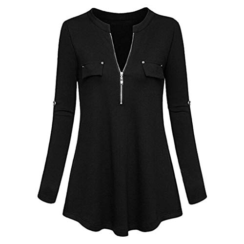 Henleys,Toimoth Fashion Womens Long Sleeve V Neck Casual Roll-up Sleeve Zipper Shirt Blouse Tops(Black,L)