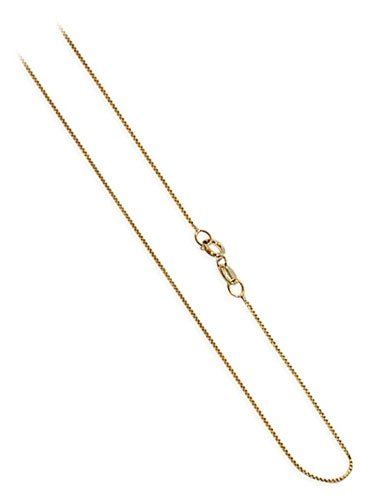 Gem Avenue 14k Yellow Gold 0.6mm wide Baby Box Chain Necklace (16